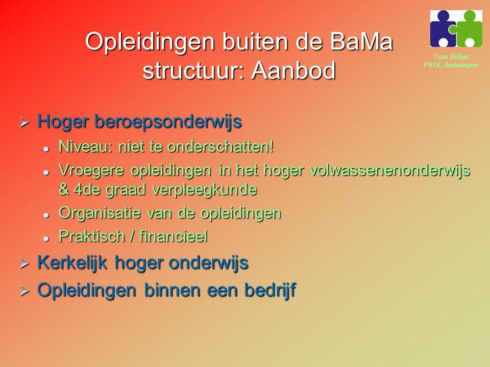 Tom Billiet PVOC Antwerpen Opleidingen buiten de BaMa structuur: Aanbod  Hoger beroepsonderwijs Niveau: niet te onderschatten! Niveau: niet te onders