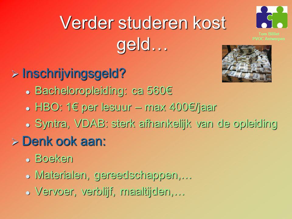 Tom Billiet PVOC Antwerpen Verder studeren kost geld…  Inschrijvingsgeld? Bacheloropleiding: ca 560€ Bacheloropleiding: ca 560€ HBO: 1€ per lesuur –