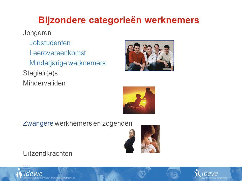 Bijzondere categorieën werknemers Jongeren Jobstudenten Leerovereenkomst Minderjarige werknemers Stagiair(e)s Mindervaliden Zwangere werknemers en zogenden Uitzendkrachten....
