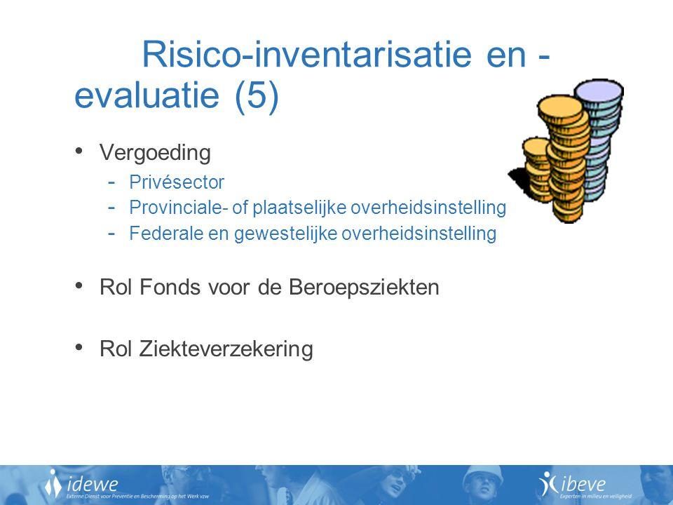 Risico-inventarisatie en - evaluatie (5) Vergoeding - Privésector - Provinciale- of plaatselijke overheidsinstelling - Federale en gewestelijke overheidsinstelling Rol Fonds voor de Beroepsziekten Rol Ziekteverzekering
