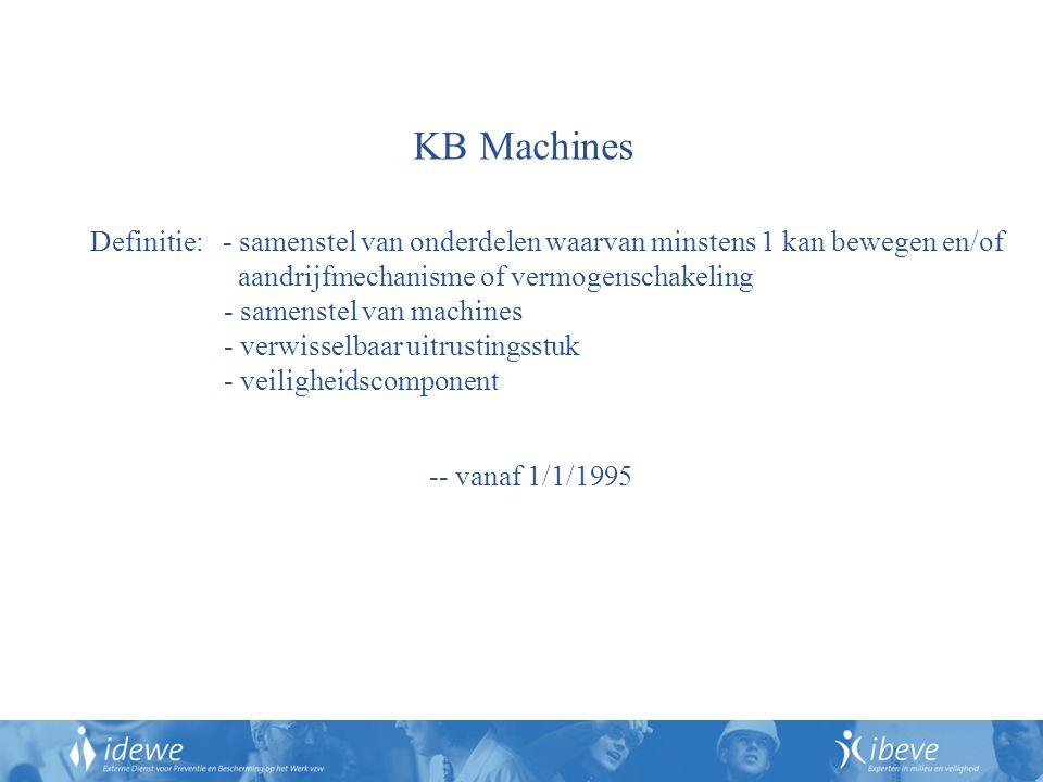 KB Machines Definitie: - samenstel van onderdelen waarvan minstens 1 kan bewegen en/of aandrijfmechanisme of vermogenschakeling - samenstel van machines - verwisselbaar uitrustingsstuk - veiligheidscomponent -- vanaf 1/1/1995