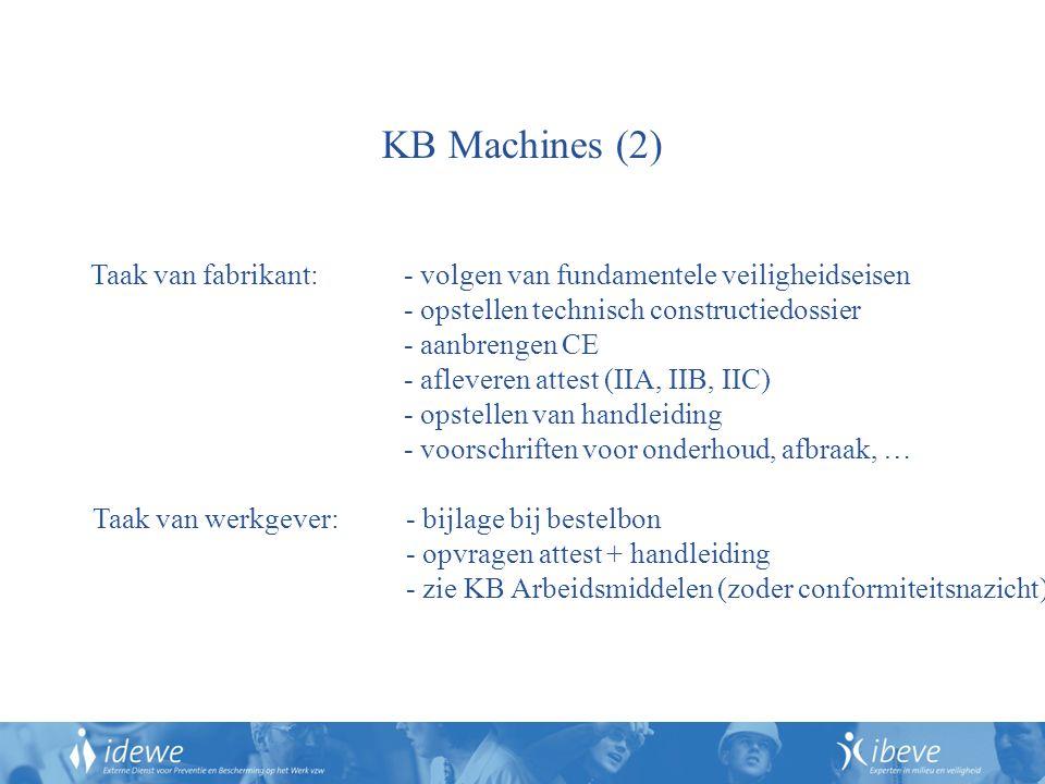 Taak van fabrikant: - volgen van fundamentele veiligheidseisen - opstellen technisch constructiedossier - aanbrengen CE - afleveren attest (IIA, IIB, IIC) - opstellen van handleiding - voorschriften voor onderhoud, afbraak, … KB Machines (2) Taak van werkgever: - bijlage bij bestelbon - opvragen attest + handleiding - zie KB Arbeidsmiddelen (zoder conformiteitsnazicht)