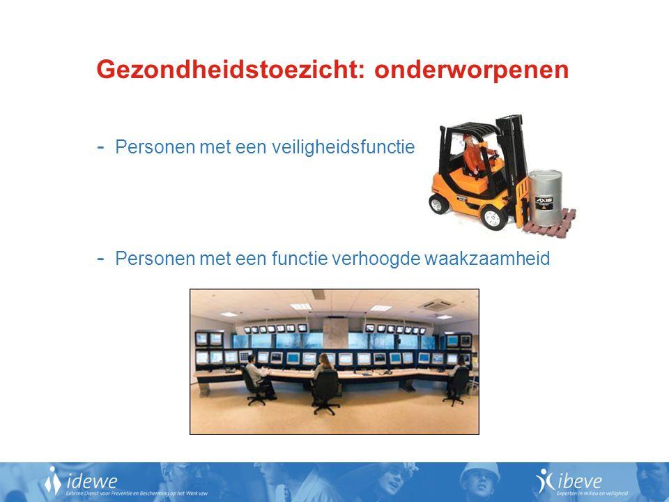 Gezondheidstoezicht: onderworpenen - Personen met een veiligheidsfunctie - Personen met een functie verhoogde waakzaamheid