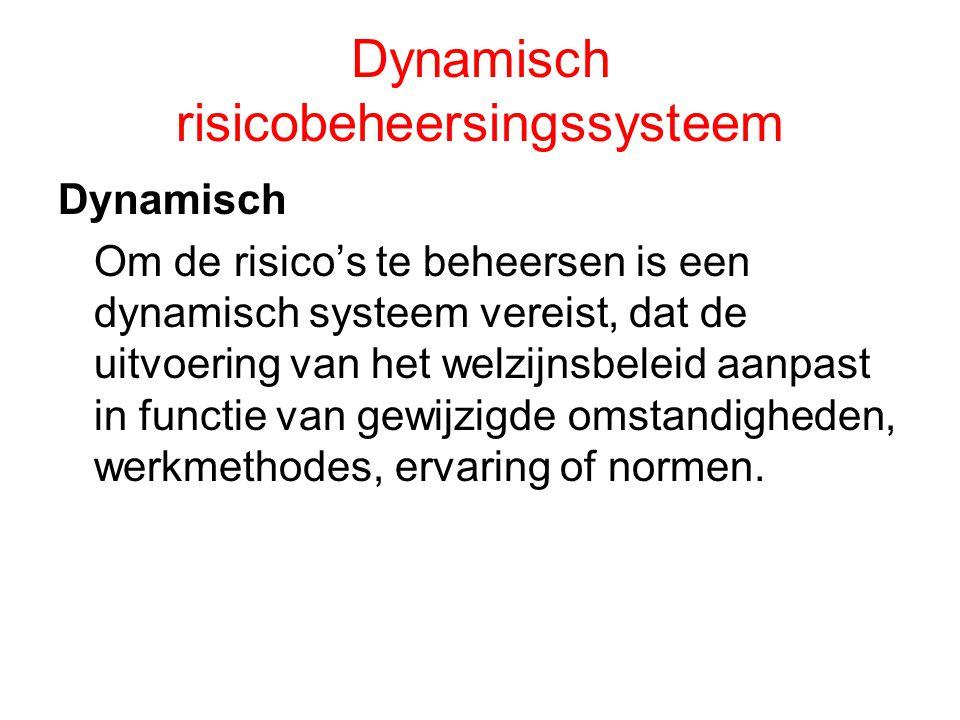 Dynamisch risicobeheersingssysteem Dynamisch Om de risico's te beheersen is een dynamisch systeem vereist, dat de uitvoering van het welzijnsbeleid aa