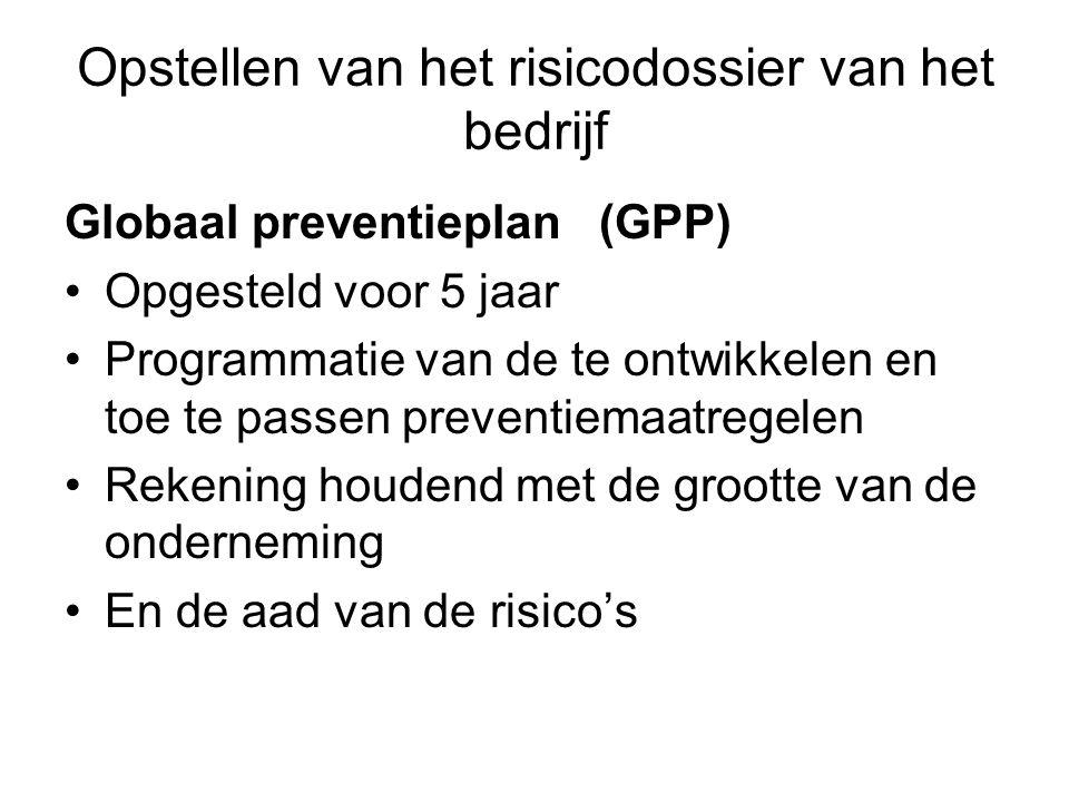 Opstellen van het risicodossier van het bedrijf Globaal preventieplan(GPP) Opgesteld voor 5 jaar Programmatie van de te ontwikkelen en toe te passen p