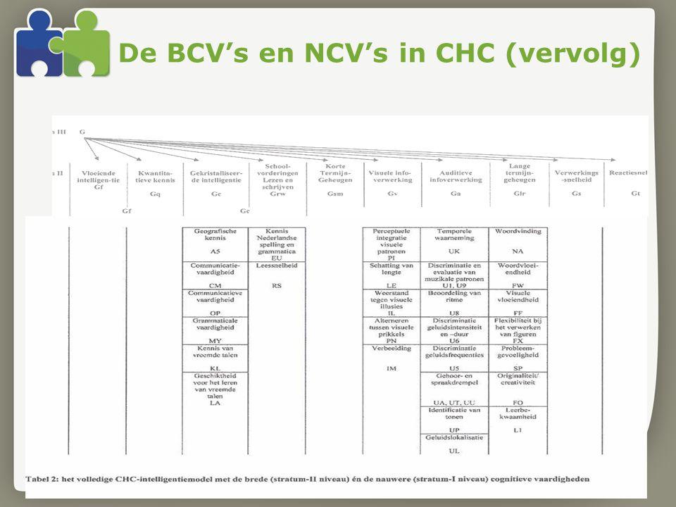 De BCV's en NCV's in CHC (vervolg)