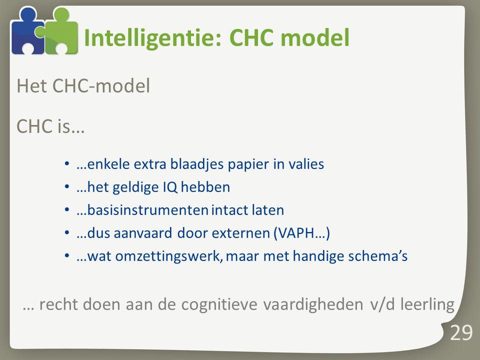 Intelligentie: CHC model Het CHC-model CHC is… …enkele extra blaadjes papier in valies …het geldige IQ hebben …basisinstrumenten intact laten …dus aan