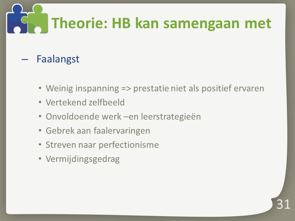 Theorie: HB kan samengaan met – Faalangst Weinig inspanning => prestatie niet als positief ervaren Vertekend zelfbeeld Onvoldoende werk –en leerstrate