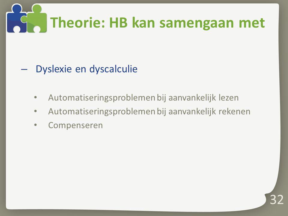 Theorie: HB kan samengaan met – Dyslexie en dyscalculie Automatiseringsproblemen bij aanvankelijk lezen Automatiseringsproblemen bij aanvankelijk reke