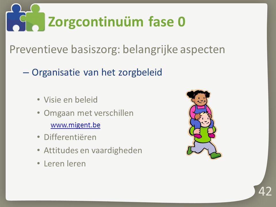 Zorgcontinuüm fase 0 Preventieve basiszorg: belangrijke aspecten – Organisatie van het zorgbeleid Visie en beleid Omgaan met verschillen www.migent.be
