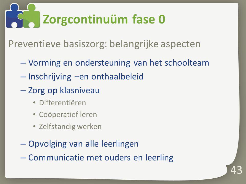 Zorgcontinuüm fase 0 Preventieve basiszorg: belangrijke aspecten – Vorming en ondersteuning van het schoolteam – Inschrijving –en onthaalbeleid – Zorg