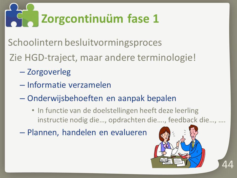 Zorgcontinuüm fase 1 Schoolintern besluitvormingsproces Zie HGD-traject, maar andere terminologie! – Zorgoverleg – Informatie verzamelen – Onderwijsbe