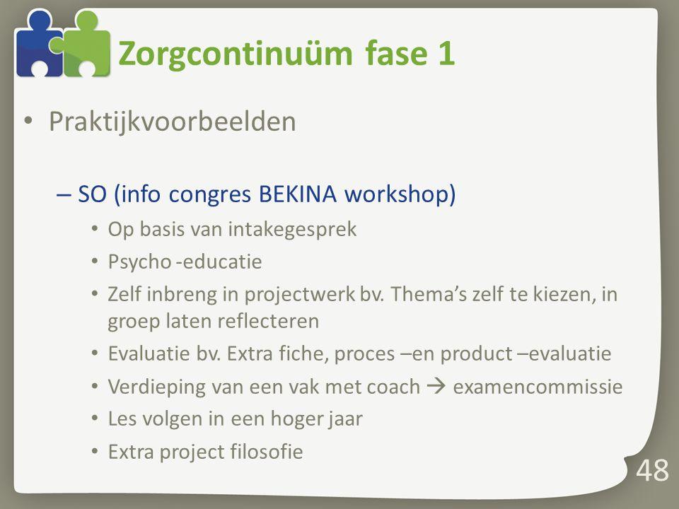 Zorgcontinuüm fase 1 Praktijkvoorbeelden – SO (info congres BEKINA workshop) Op basis van intakegesprek Psycho -educatie Zelf inbreng in projectwerk b