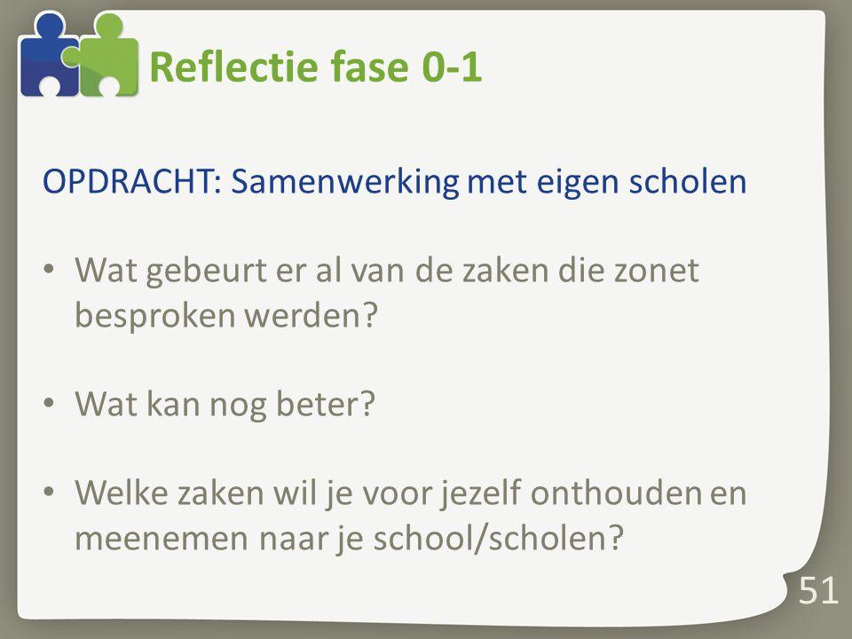 51 Reflectie fase 0-1 OPDRACHT: Samenwerking met eigen scholen Wat gebeurt er al van de zaken die zonet besproken werden? Wat kan nog beter? Welke zak