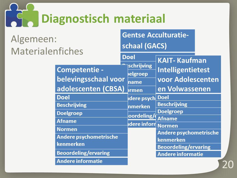 Diagnostisch materiaal Algemeen: Materialenfiches 20 Gentse Acculturatie- schaal (GACS) Doel Beschrijving Doelgroep Afname Normen Andere psychometrisc