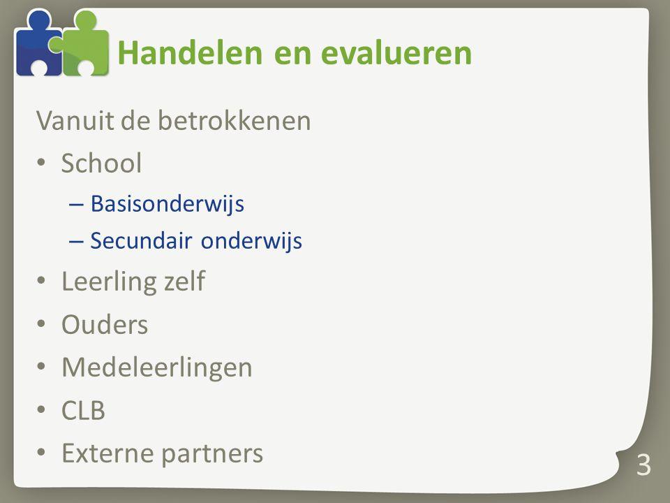 Handelen en evalueren Vanuit de betrokkenen School – Basisonderwijs – Secundair onderwijs Leerling zelf Ouders Medeleerlingen CLB Externe partners 3