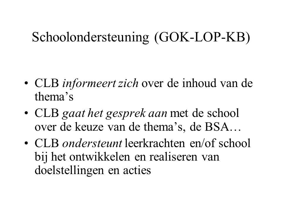 Schoolondersteuning (GOK-LOP-KB) CLB informeert zich over de inhoud van de thema's CLB gaat het gesprek aan met de school over de keuze van de thema's, de BSA… CLB ondersteunt leerkrachten en/of school bij het ontwikkelen en realiseren van doelstellingen en acties