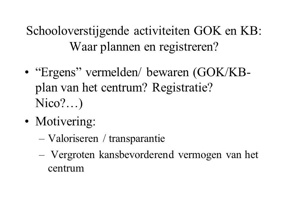 Schooloverstijgende activiteiten GOK en KB: Waar plannen en registreren.