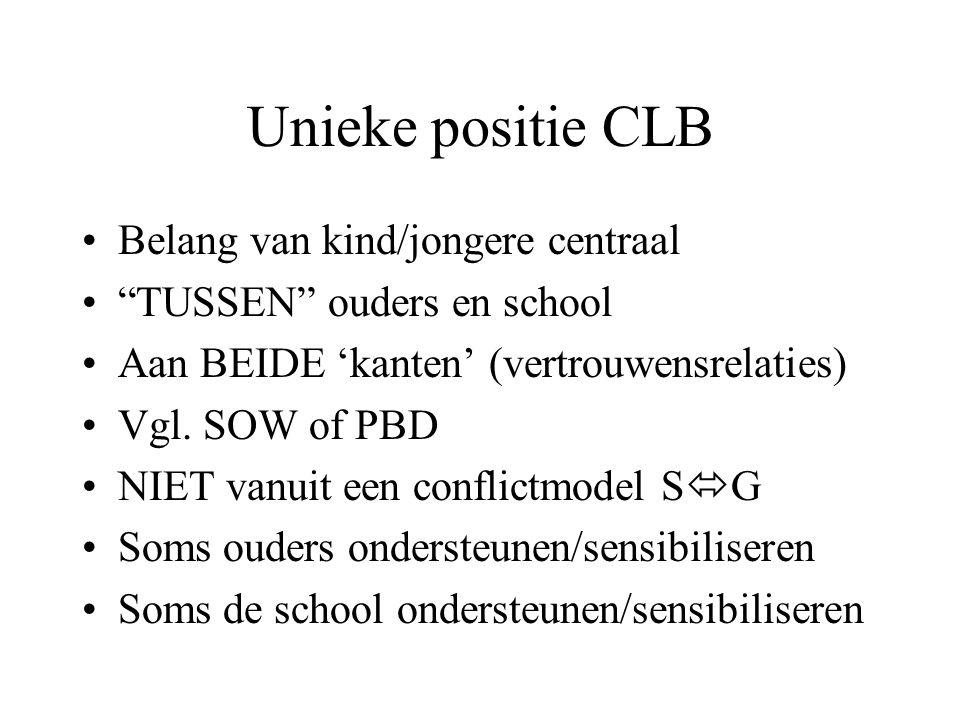 Unieke positie CLB Belang van kind/jongere centraal TUSSEN ouders en school Aan BEIDE 'kanten' (vertrouwensrelaties) Vgl.