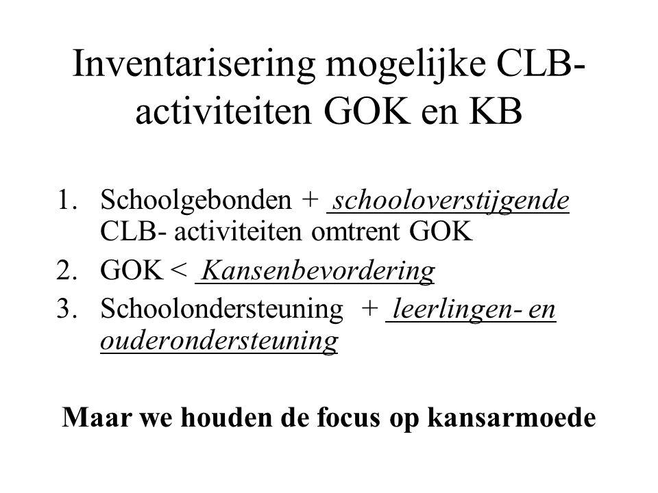 Inventarisering mogelijke CLB- activiteiten GOK en KB 1.Schoolgebonden + schooloverstijgende CLB- activiteiten omtrent GOK 2.GOK < Kansenbevordering 3.Schoolondersteuning + leerlingen- en ouderondersteuning Maar we houden de focus op kansarmoede