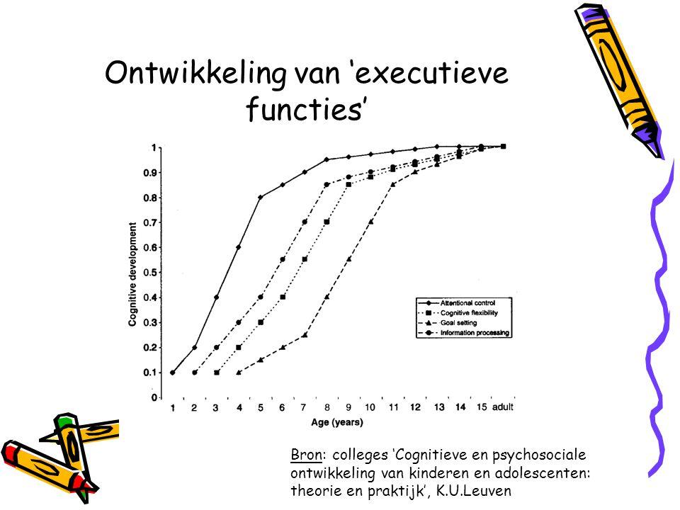 Ontwikkeling van 'executieve functies' Bron: colleges 'Cognitieve en psychosociale ontwikkeling van kinderen en adolescenten: theorie en praktijk', K.U.Leuven