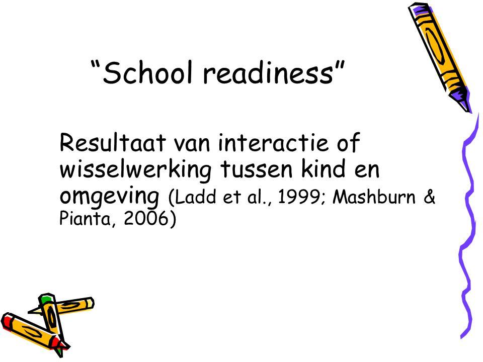 """""""School readiness"""" Resultaat van interactie of wisselwerking tussen kind en omgeving (Ladd et al., 1999; Mashburn & Pianta, 2006)"""