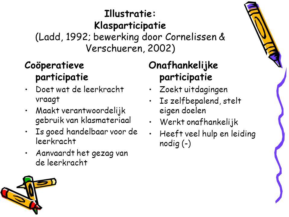 Illustratie: Klasparticipatie (Ladd, 1992; bewerking door Cornelissen & Verschueren, 2002) Coöperatieve participatie Doet wat de leerkracht vraagt Maa