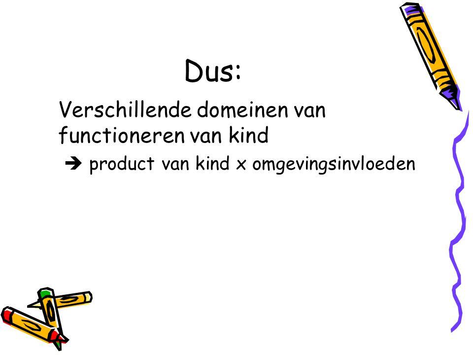 Dus: Verschillende domeinen van functioneren van kind  product van kind x omgevingsinvloeden