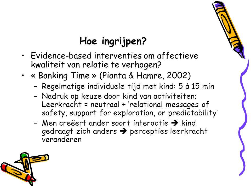 Hoe ingrijpen? Evidence-based interventies om affectieve kwaliteit van relatie te verhogen? « Banking Time » (Pianta & Hamre, 2002) –Regelmatige indiv