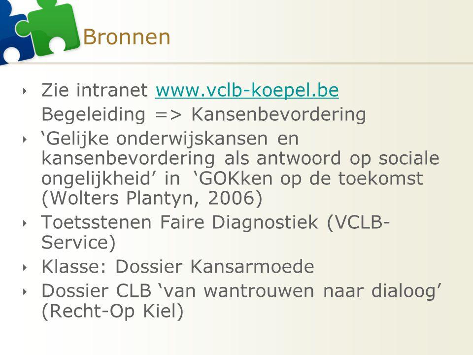 Bronnen  Zie intranet www.vclb-koepel.bewww.vclb-koepel.be Begeleiding => Kansenbevordering  'Gelijke onderwijskansen en kansenbevordering als antwo