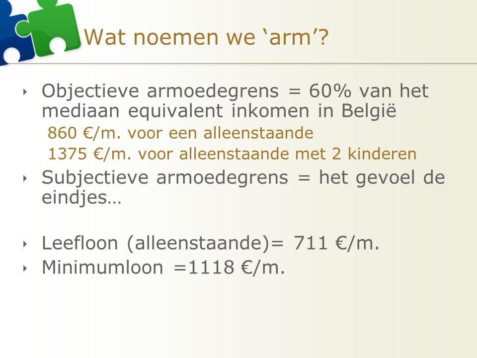 Wat noemen we 'arm'?  Objectieve armoedegrens = 60% van het mediaan equivalent inkomen in België 860 €/m. voor een alleenstaande 1375 €/m. voor allee