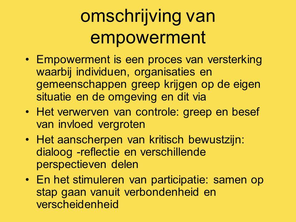 omschrijving van empowerment Empowerment is een proces van versterking waarbij individuen, organisaties en gemeenschappen greep krijgen op de eigen situatie en de omgeving en dit via Het verwerven van controle: greep en besef van invloed vergroten Het aanscherpen van kritisch bewustzijn: dialoog -reflectie en verschillende perspectieven delen En het stimuleren van participatie: samen op stap gaan vanuit verbondenheid en verscheidenheid