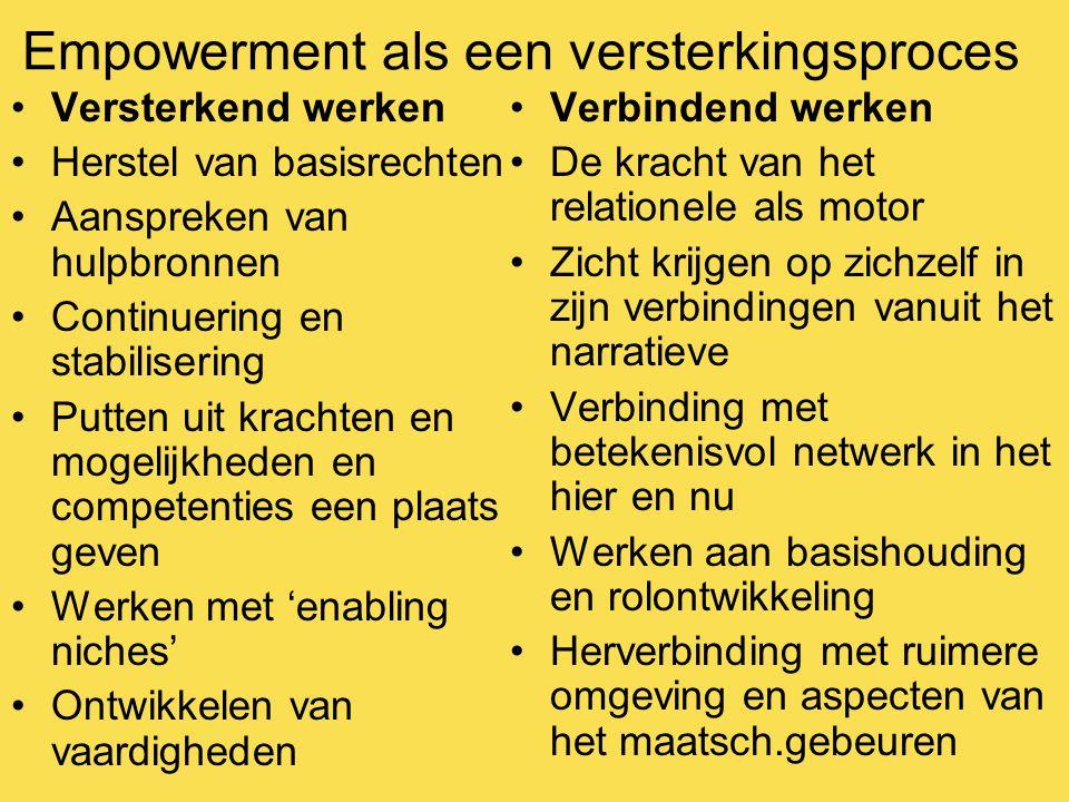 Empowerment als een versterkingsproces Versterkend werken Herstel van basisrechten Aanspreken van hulpbronnen Continuering en stabilisering Putten uit