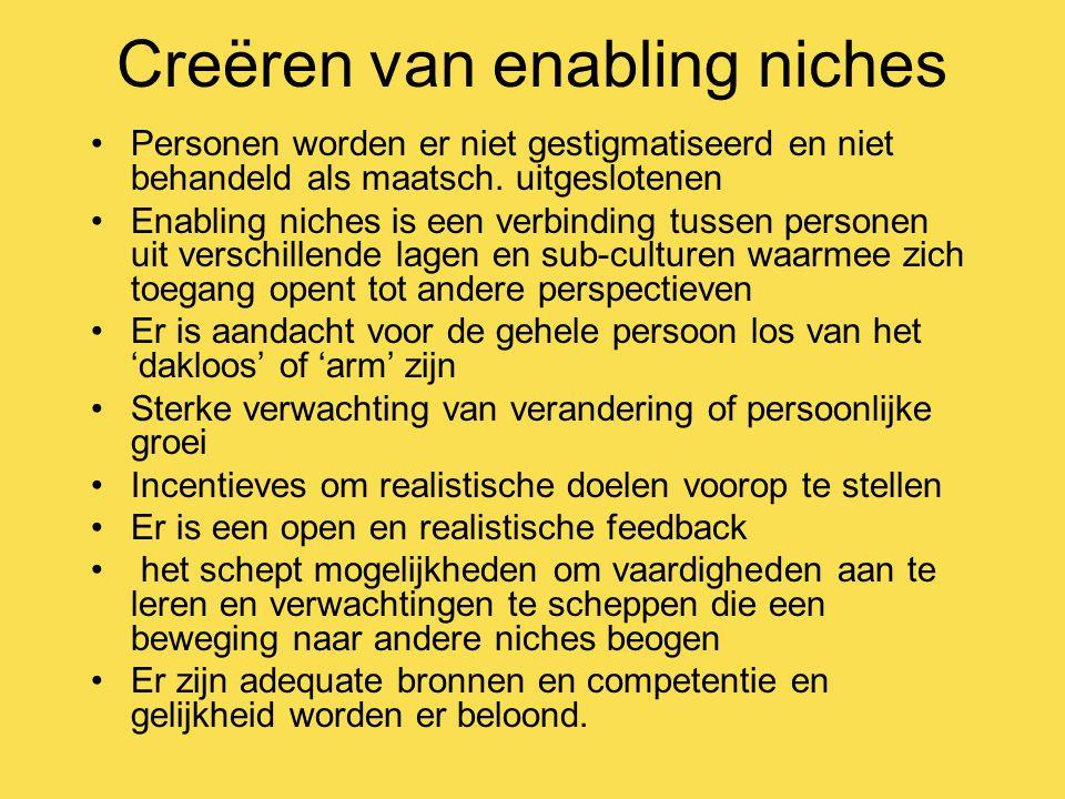 Creëren van enabling niches Personen worden er niet gestigmatiseerd en niet behandeld als maatsch.