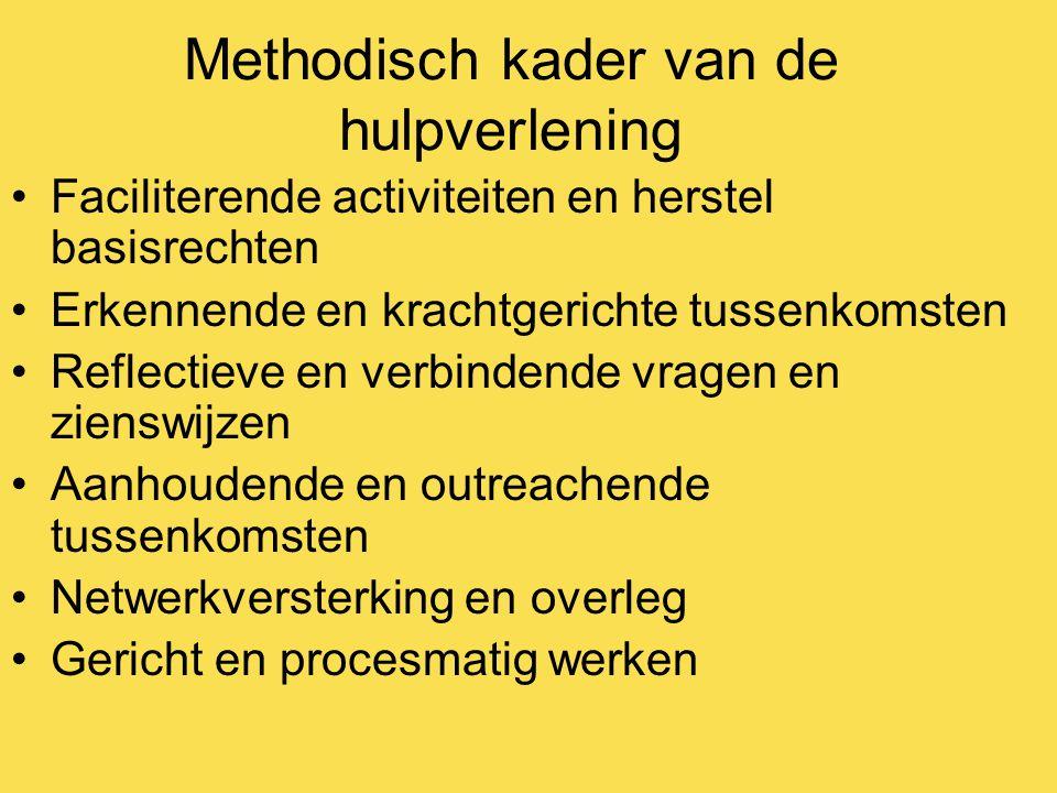 Methodisch kader van de hulpverlening Faciliterende activiteiten en herstel basisrechten Erkennende en krachtgerichte tussenkomsten Reflectieve en ver