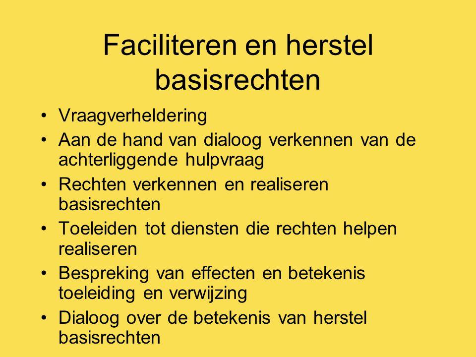Faciliteren en herstel basisrechten Vraagverheldering Aan de hand van dialoog verkennen van de achterliggende hulpvraag Rechten verkennen en realisere