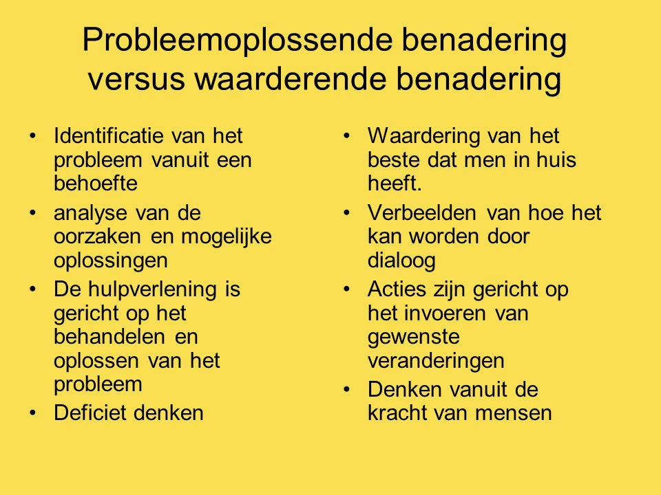 Probleemoplossende benadering versus waarderende benadering Identificatie van het probleem vanuit een behoefte analyse van de oorzaken en mogelijke op