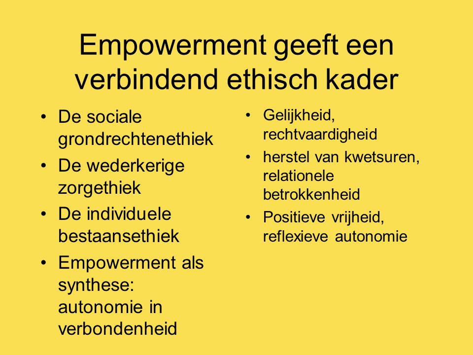 Empowerment geeft een verbindend ethisch kader De sociale grondrechtenethiek De wederkerige zorgethiek De individuele bestaansethiek Empowerment als synthese: autonomie in verbondenheid Gelijkheid, rechtvaardigheid herstel van kwetsuren, relationele betrokkenheid Positieve vrijheid, reflexieve autonomie