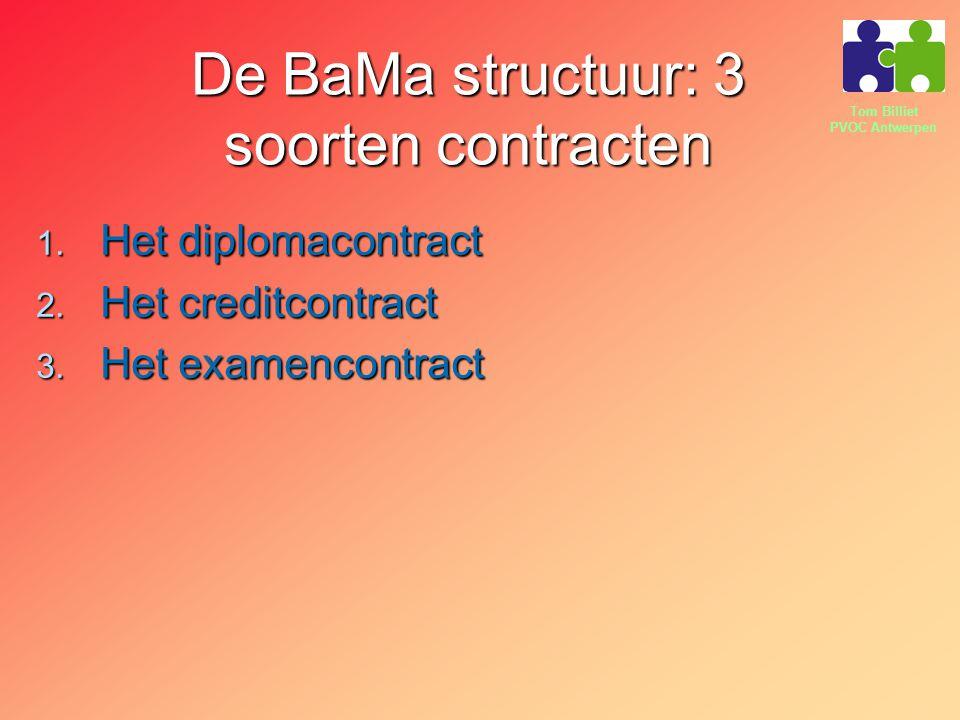 Tom Billiet PVOC Antwerpen De BaMa structuur: 3 soorten contracten 1. Het diplomacontract 2. Het creditcontract 3. Het examencontract