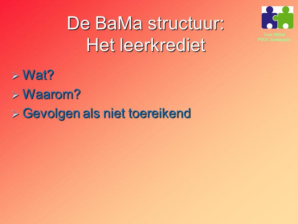 Tom Billiet PVOC Antwerpen De BaMa structuur: Het leerkrediet  Wat?  Waarom?  Gevolgen als niet toereikend