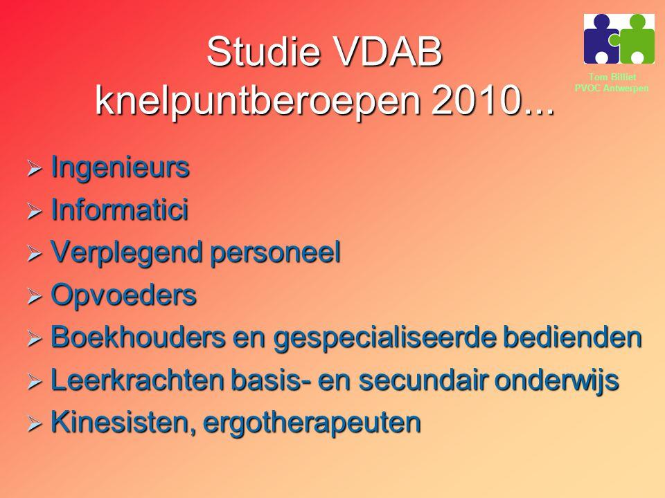Tom Billiet PVOC Antwerpen Studie VDAB knelpuntberoepen 2010...  Ingenieurs  Informatici  Verplegend personeel  Opvoeders  Boekhouders en gespeci