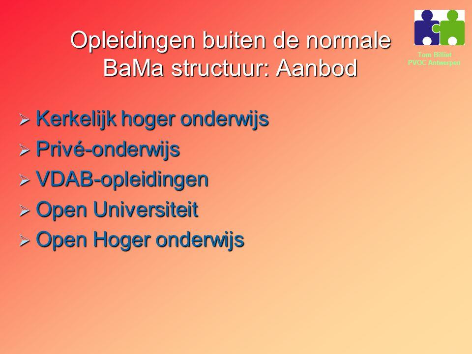 Tom Billiet PVOC Antwerpen Opleidingen buiten de normale BaMa structuur: Aanbod  Kerkelijk hoger onderwijs  Privé-onderwijs  VDAB-opleidingen  Open Universiteit  Open Hoger onderwijs