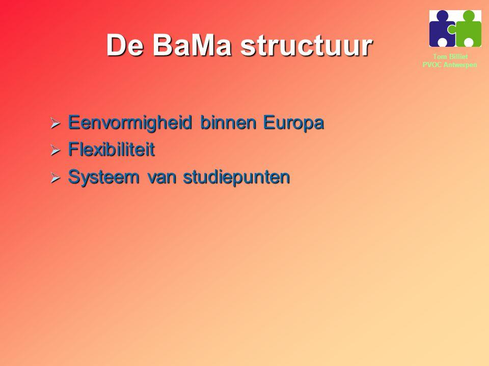 Tom Billiet PVOC Antwerpen De BaMa structuur  Eenvormigheid binnen Europa  Flexibiliteit  Systeem van studiepunten