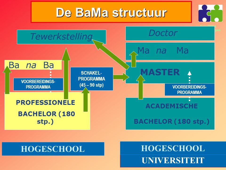 Tom Billiet PVOC Antwerpen De BaMa structuur PROFESSIONELE BACHELOR (180 stp.) ACADEMISCHE BACHELOR (180 stp.) MASTER Ma na Ma Ba na Ba Doctor HOGESCHOOL UNIVERSITEIT HOGESCHOOL VOORBEREIDINGS- PROGRAMMA SCHAKEL- PROGRAMMA (45 – 90 stp) Tewerkstelling VOORBEREIDINGS- PROGRAMMA
