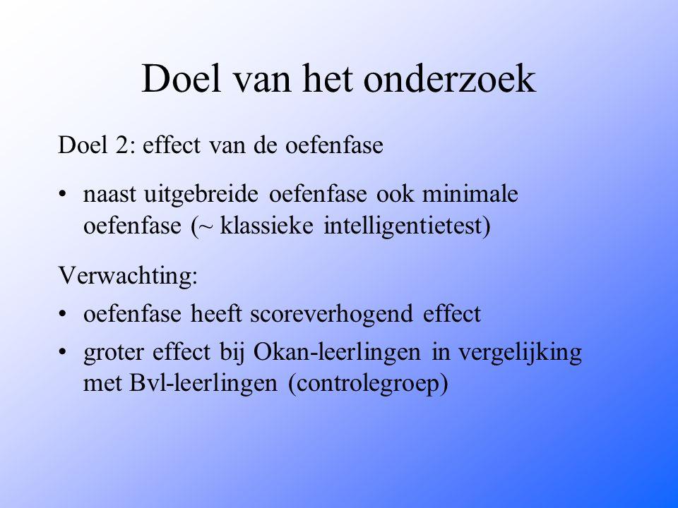 Doel van het onderzoek Doel 2: effect van de oefenfase naast uitgebreide oefenfase ook minimale oefenfase (~ klassieke intelligentietest) Verwachting: