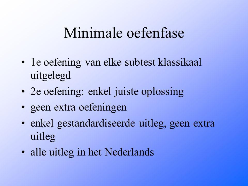 Minimale oefenfase 1e oefening van elke subtest klassikaal uitgelegd 2e oefening: enkel juiste oplossing geen extra oefeningen enkel gestandardiseerde uitleg, geen extra uitleg alle uitleg in het Nederlands