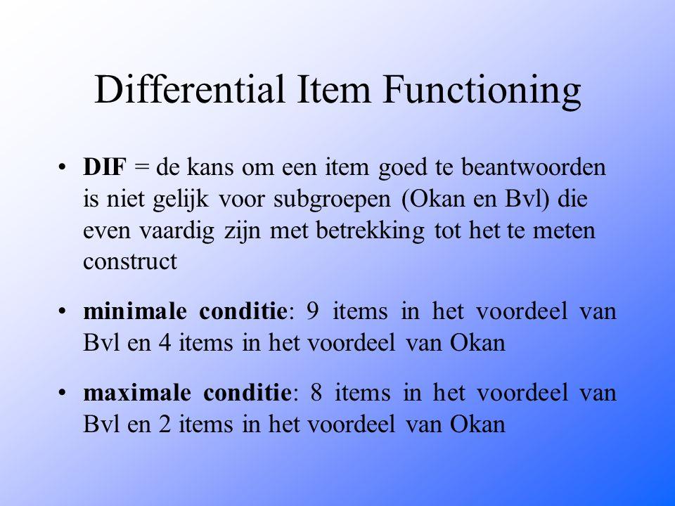 Differential Item Functioning DIF = de kans om een item goed te beantwoorden is niet gelijk voor subgroepen (Okan en Bvl) die even vaardig zijn met betrekking tot het te meten construct minimale conditie: 9 items in het voordeel van Bvl en 4 items in het voordeel van Okan maximale conditie: 8 items in het voordeel van Bvl en 2 items in het voordeel van Okan