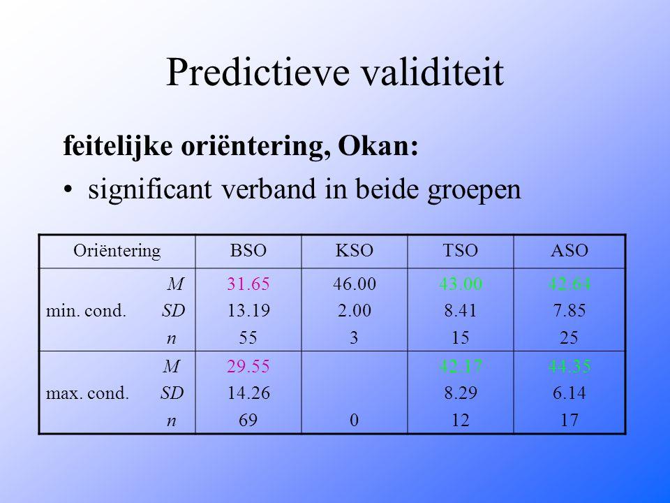 Predictieve validiteit feitelijke oriëntering, Okan: significant verband in beide groepen OriënteringBSOKSOTSOASO M min. cond. SD n 31.65 13.19 55 46.