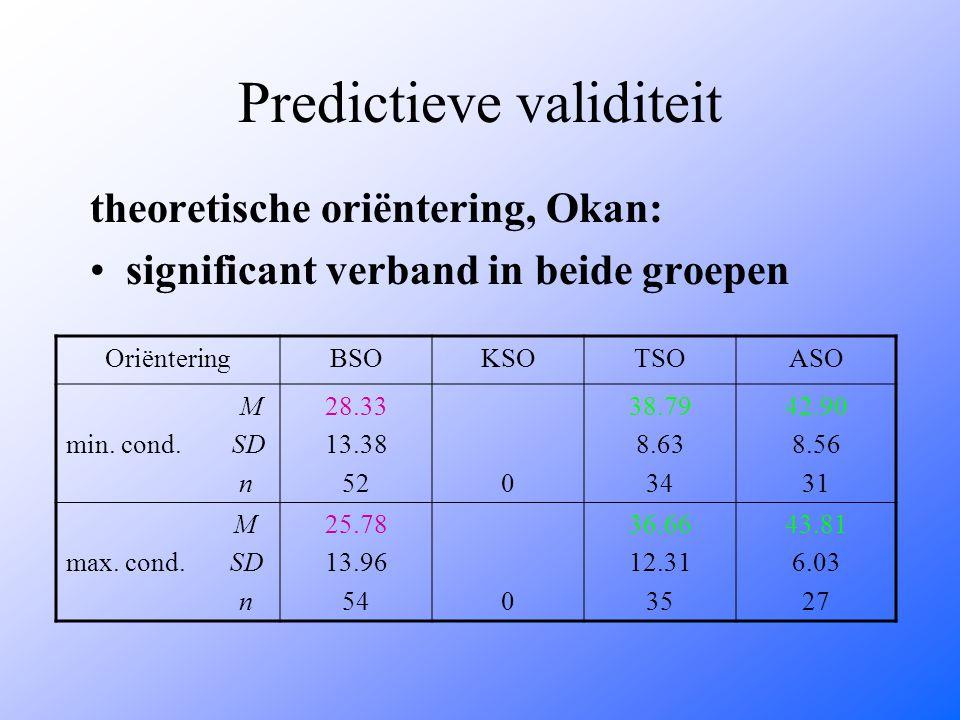 Predictieve validiteit theoretische oriëntering, Okan: significant verband in beide groepen OriënteringBSOKSOTSOASO M min. cond. SD n 28.33 13.38 520