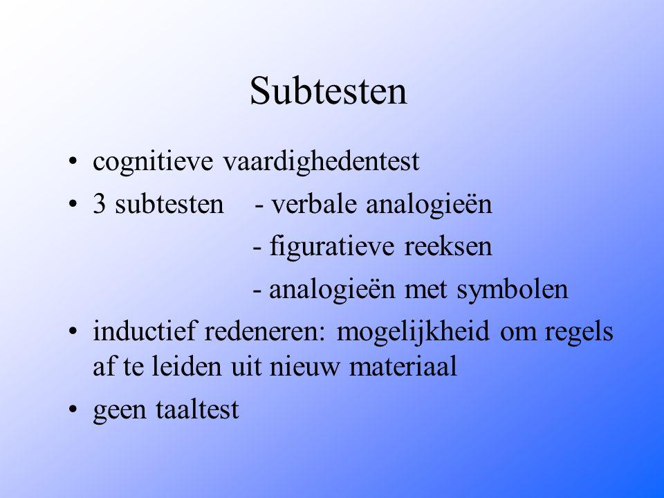 Subtesten cognitieve vaardighedentest 3 subtesten - verbale analogieën - figuratieve reeksen - analogieën met symbolen inductief redeneren: mogelijkheid om regels af te leiden uit nieuw materiaal geen taaltest